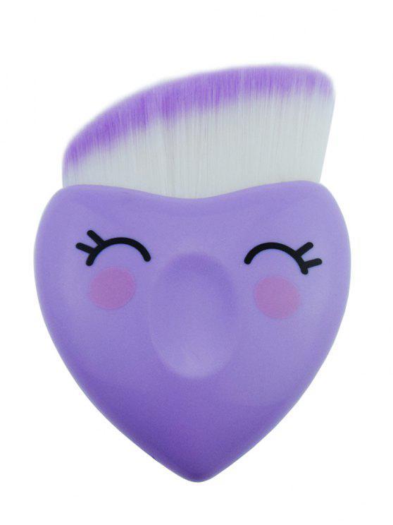 فرشاة كريم أساس لطيفة على شكل قلب من ألياف الشعر الاصطناعي - ضوء ارجواني