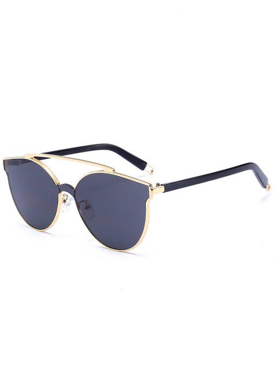 Occhiali Da Sole A Cat Eye Decorati Con Traversa Tutti Cerchiati In Metallo - Oro + Grigio