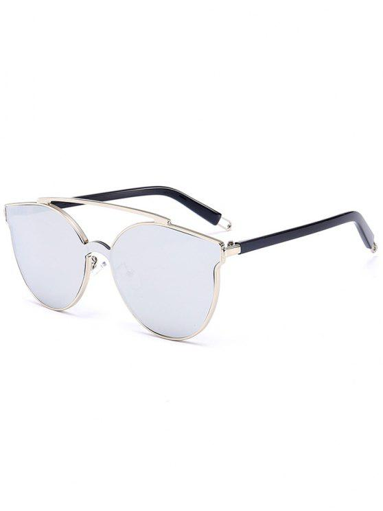 lady Metal Full Frame Crossbar Decorated Cat Eye Sunglasses - SILVER FRAME + WHITE LENS