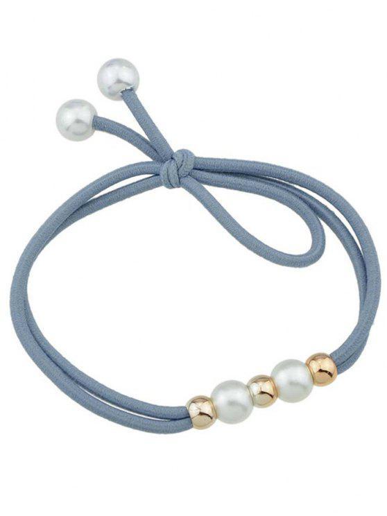 Banda Elastica Per Capelli Carina Con Perle Sintetiche - Blu