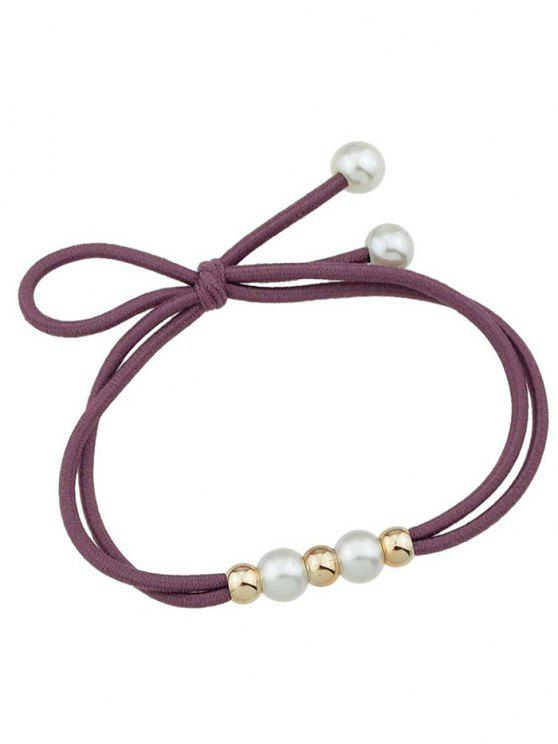 shops Cute Faux Pearl Elastic Hair Band - WINE RED
