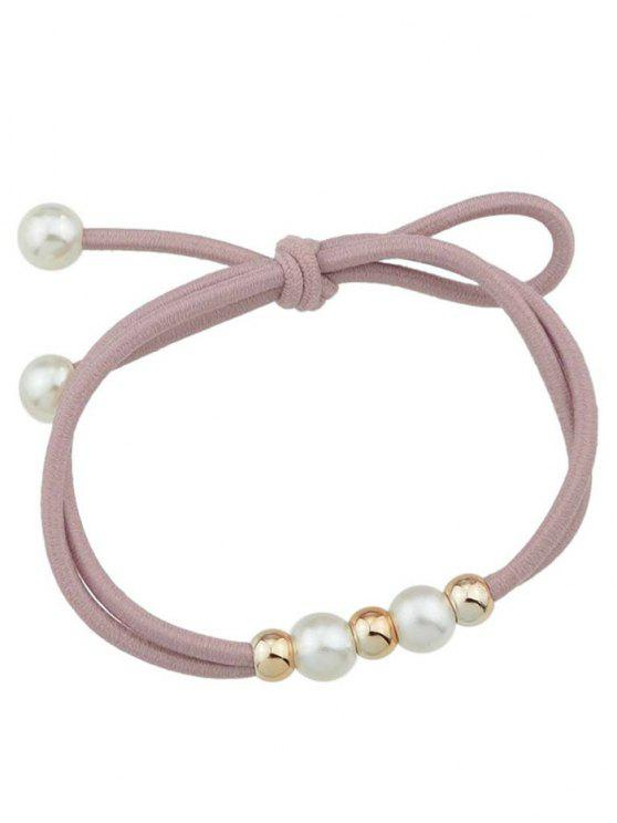 latest Cute Faux Pearl Elastic Hair Band - PINK