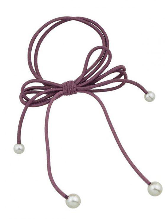 Bande de cheveux élastique Bowknot perle artificielle - Rouge vineux