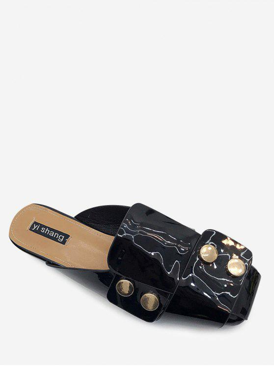 women Studded Flat Mules Shoes - BLACK 37