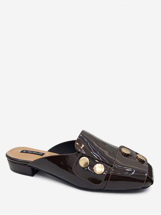 Scarpe Sandali Piatte Borchiate Con Punta Quadrata - Marrone 40