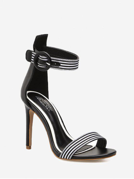 lady Striped Ankle Strap Sandals - BLACK 38