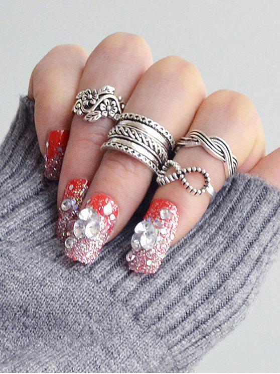 Conjunto de anel de dedo infinito de folha de flor gravada - Prata