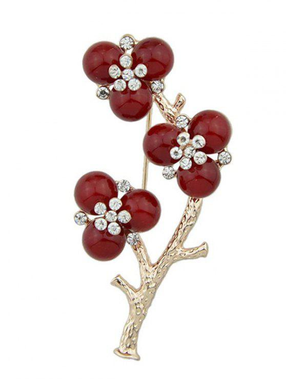 sale Rhinestone Flower Branch Brooch - GOLDEN