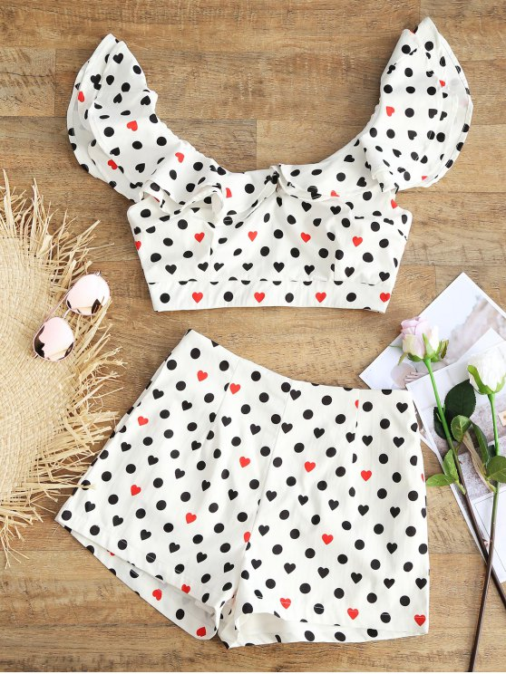 trendy Polka Dot Heart Ruffle Top and Shorts Set - WHITE L