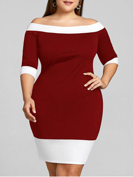 قبالة الكتف زائد الحجم اللون تريم غمد اللباس - نبيذ أحمر 2XL