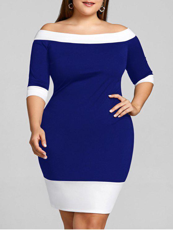 قبالة الكتف زائد الحجم اللون تريم غمد اللباس - أزرق 4XL