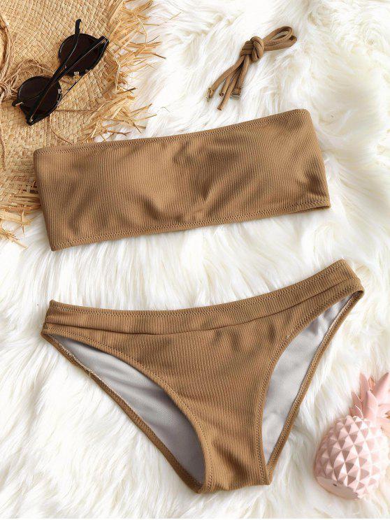 Conjunto de bikini de textura acanalada halter - Camello M