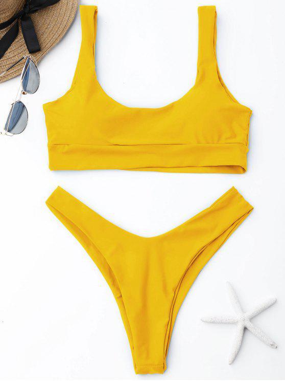 b997a5b7a528c 27% OFF] 2019 ZAFUL Scooped High Cut Bikini Set In YELLOW | ZAFUL