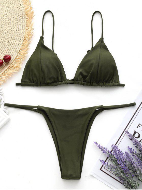 chic Cami Back Tied Thong Bikini Set - ARMY GREEN XL