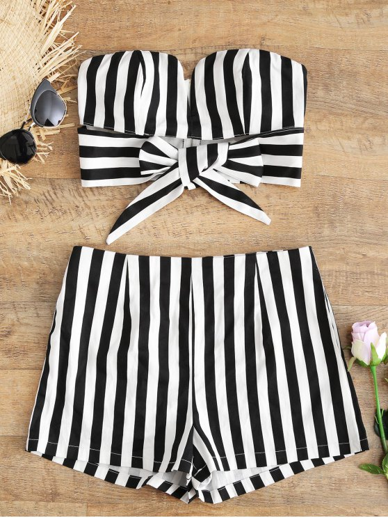 51de57a0c782c 32% OFF  2019 Tied Stripes Tube Top And Shorts Set In STRIPE