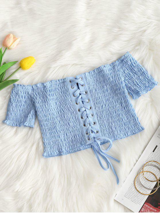 trendy Off Shoulder Smocked Lace Up Crop Blouse - LIGHT BLUE L
