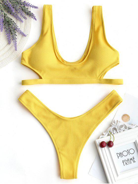Sujetador de bikini cortado con tanga inferior - Mostaza S