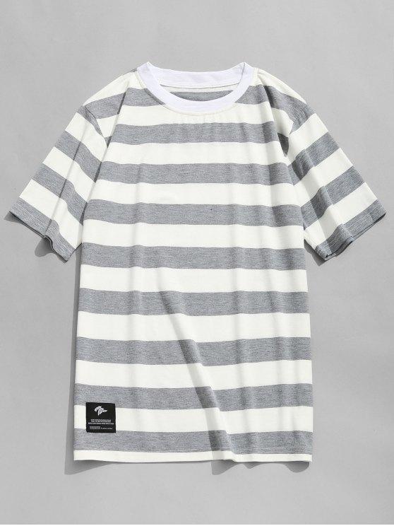 Camiseta con cuello redondo a rayas - Gris y negro L