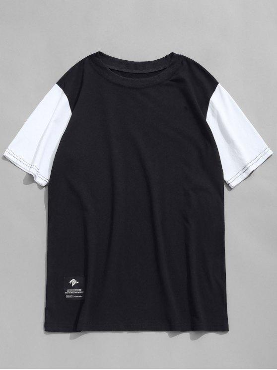 T-shirt Col Ras du Cou à Manches Contrastantes - Noir L