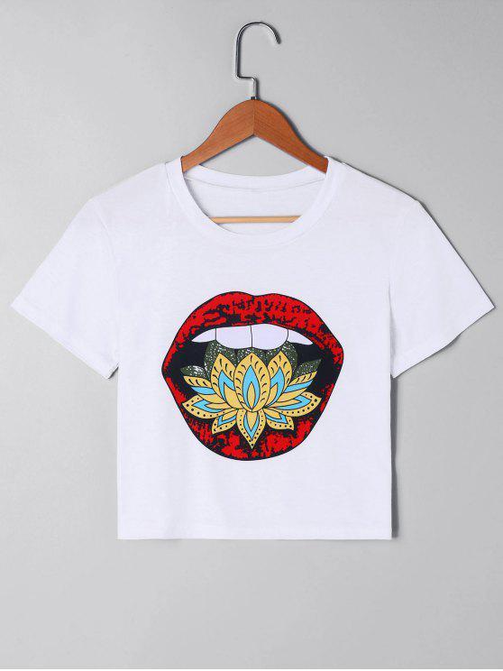 Camiseta corta con estampado de labios - Blanco L