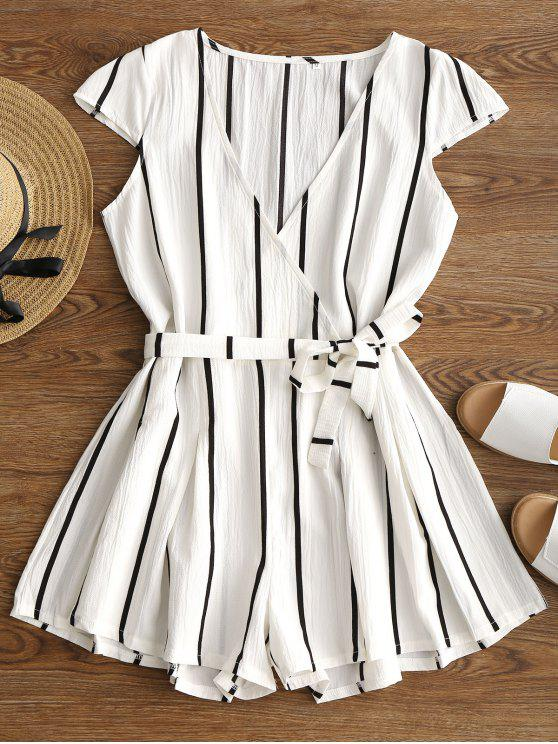 chic Plunging Neck Striped Belted Romper - WHITE L