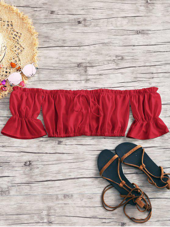 Recortada corbata delantera sin hombros - Rojo S