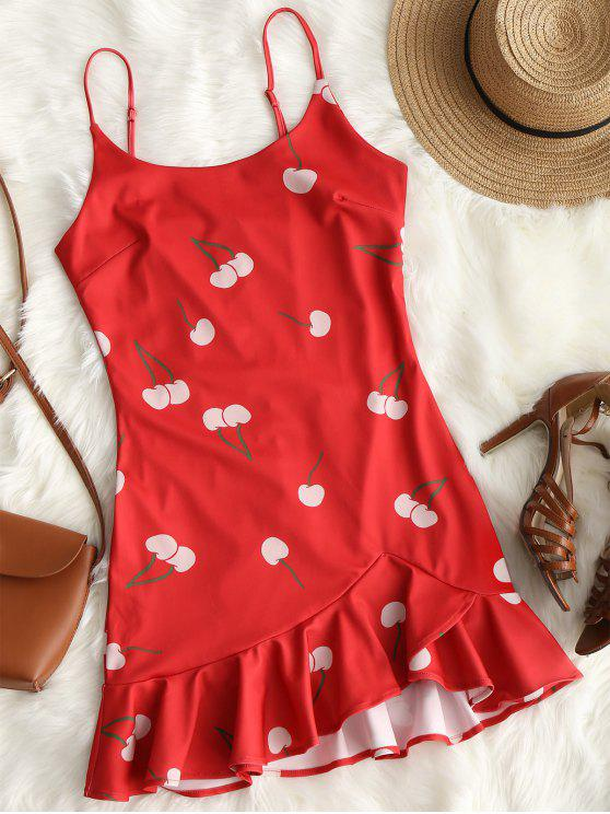 73ae493d8185 29% OFF] 2019 Cherry Print Ruffle Hem Cami Dress In RED | ZAFUL