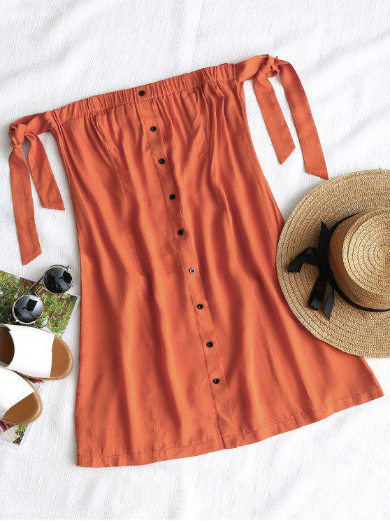 فستان مصغر زر ربطة - أحمر برتقالي M
