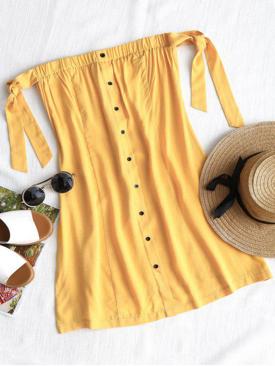 فستان مصغر زر ربطة - الأصفر L