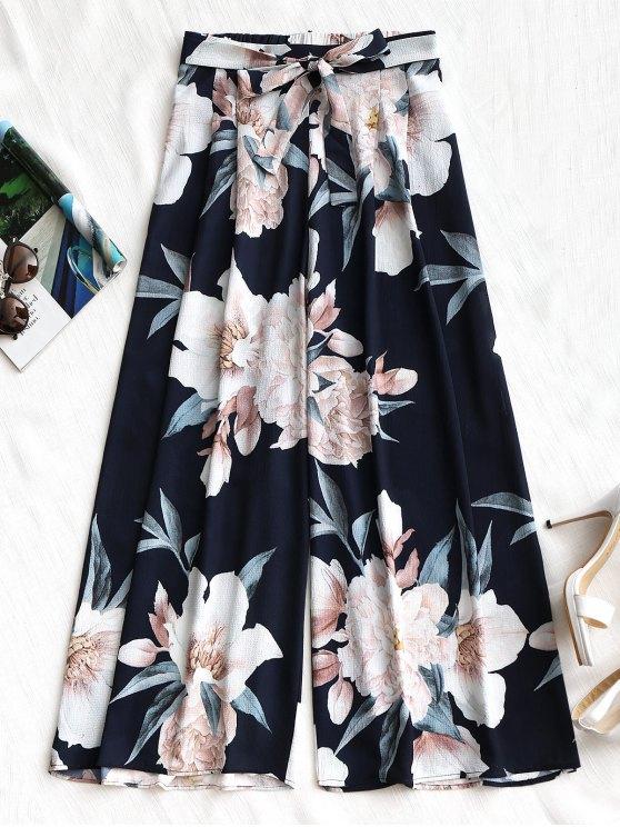 sale Belted Floral Wide Leg Pants - PURPLISH BLUE M