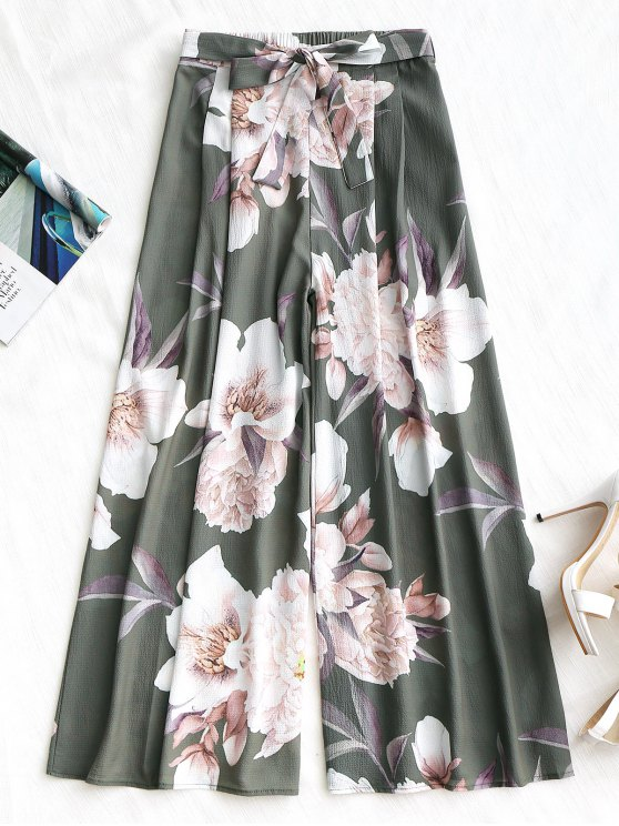 womens Belted Floral Wide Leg Pants - ARMY GREEN M