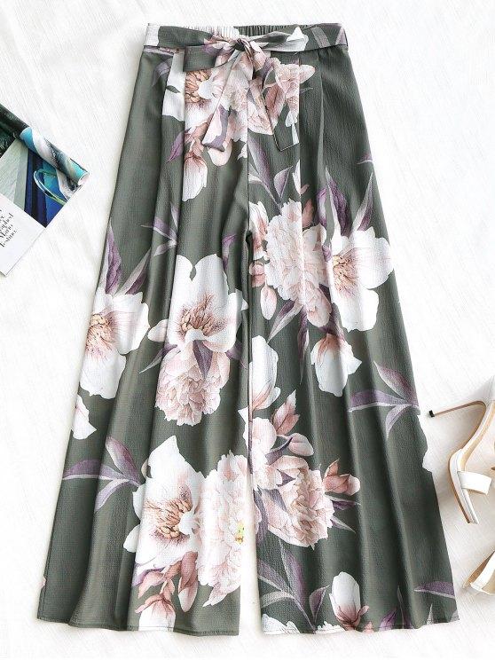 Belted Floral Wide Leg Pants - Exército verde S
