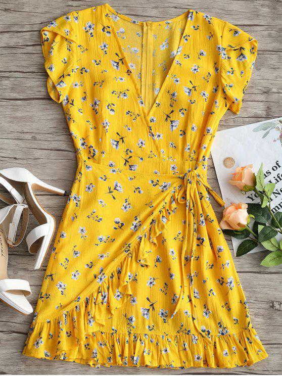 فستان كشكش طباعة الأزهار غارق الرقبة - الأصفر S