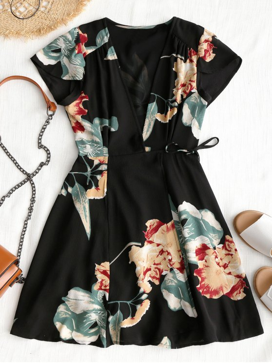 latest Floral Beach Wrap Mini Dress - BLACK L