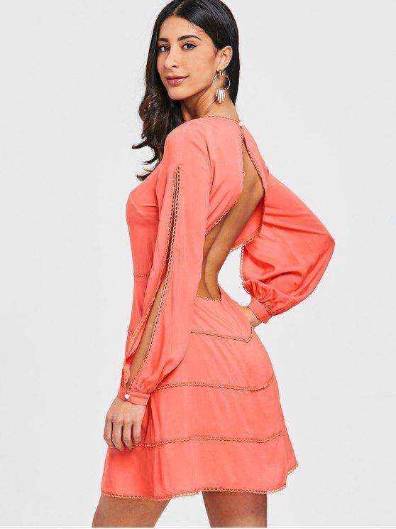 best Open Back Split Long Sleeve Dress - ORANGEPINK S