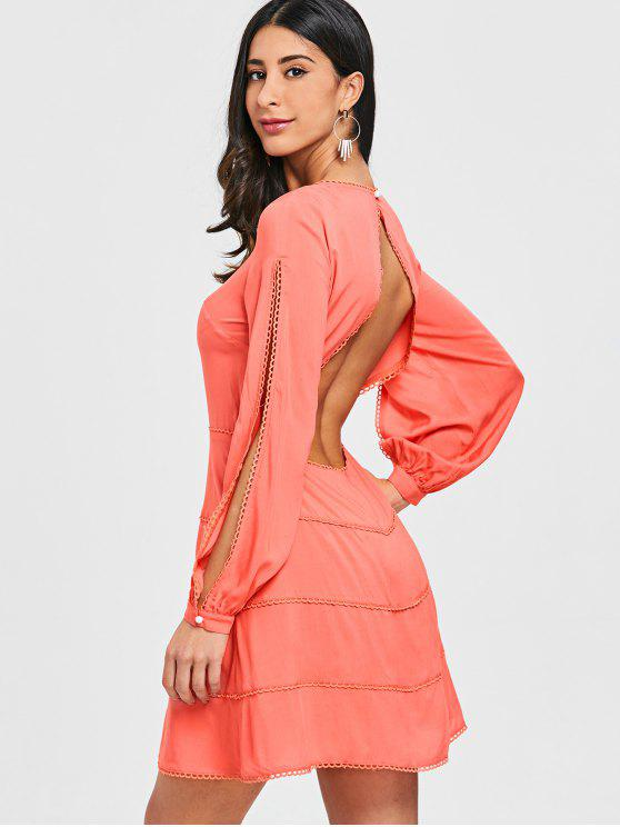 online Open Back Split Long Sleeve Dress - ORANGEPINK M