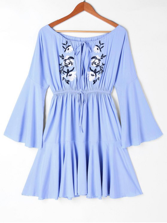 shops Off Shoulder Embroidery Casual Dress - BLUE XL