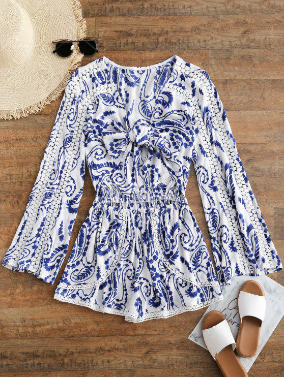 fashion Printed Crochet Trim Cut Out Romper - BLUE AND WHITE L