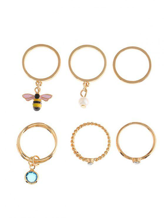 Faux Perle Strass Emaille Schmetterling Ring Set - Golden