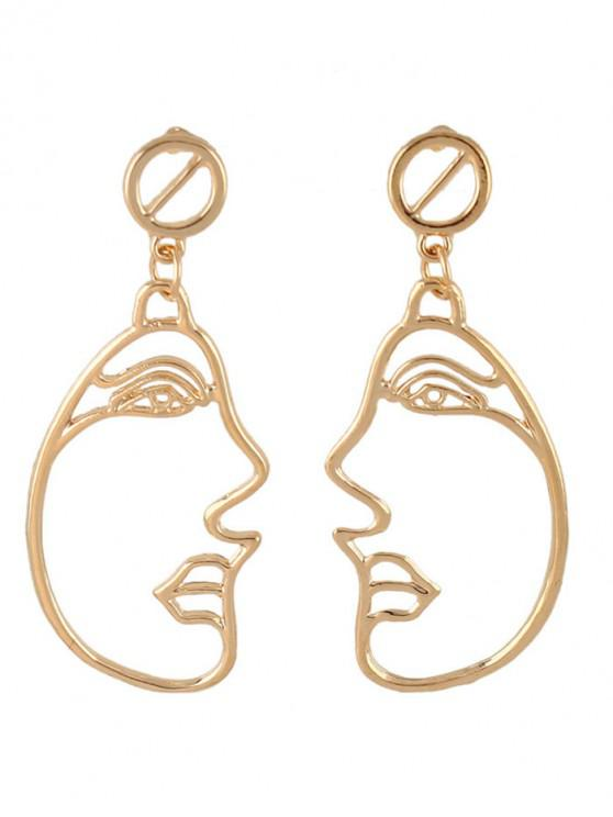 ladies Alloy Side Face Hollow Out Dangle Earrings - GOLDEN