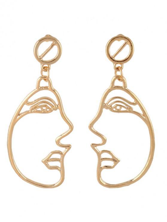 Legierung Seite Gesicht aushöhlen baumeln Ohrringe - Golden