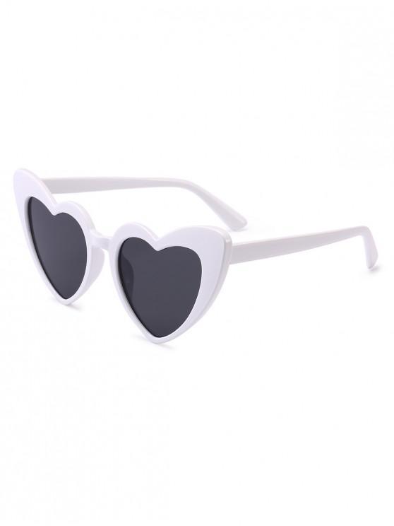 sale Heart Shape Sunglasses - WHITE FRAME+GREY LENS