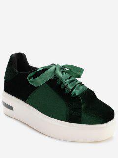 Square Toe Velvet Platform Sneakers - Green 37