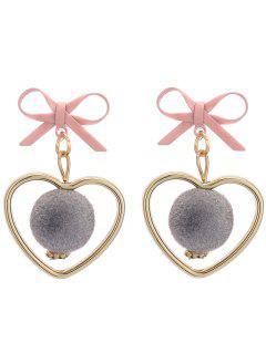 Fuzzy Ball Heart Bows Pendientes - Gris