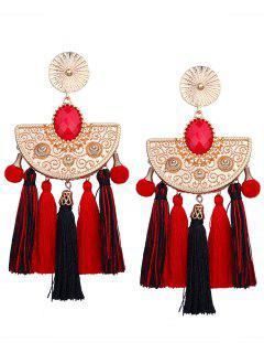 Bohemian Color Block Tassel Earrings - Black + Red