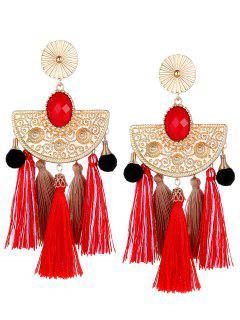 Bohemian Color Block Tassel Earrings - White + Red