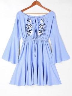 Off Shoulder Embroidery Casual Dress - Blue M