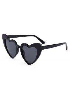 Heart Shape Sunglasses - Bright Black+grey