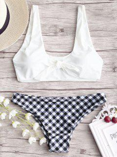 Knotted Bikini Top With Plaid Bottoms - White Xl