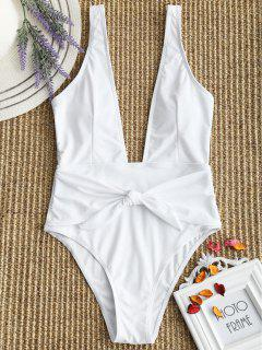 Vestido De Baño De Corte Alto Atado Al Cuello - Blanco L